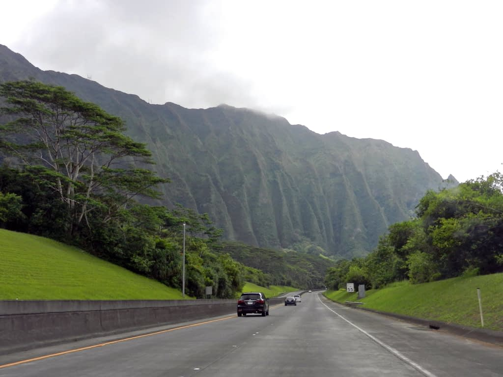 Highway with mountain ahead and green grass and trees on both sides