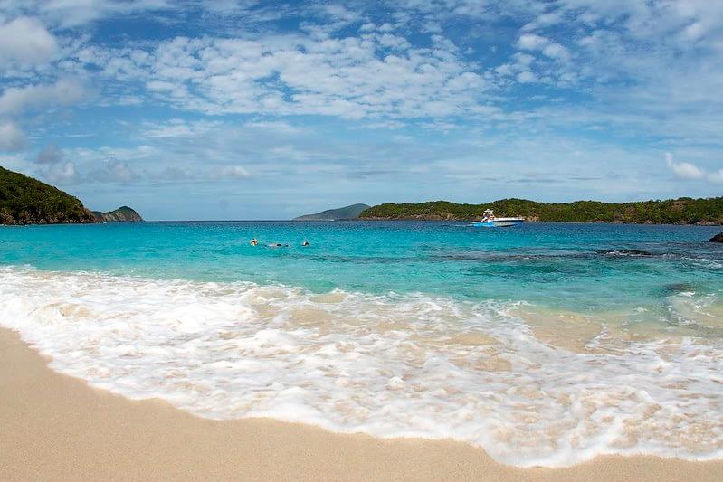 Beach in St. Thomas, USVI - crystal blue water on light sand